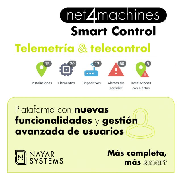 Nayar Systems implementa novedades en la plataforma net4machines Smart Control