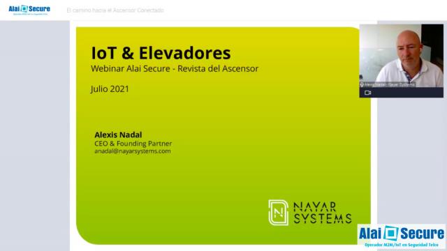 """Alexis Nadal, CEO de Nayar Systems, participa en el webinar """"El camino hacia el ascensor conectado, retos y oportunidades"""""""
